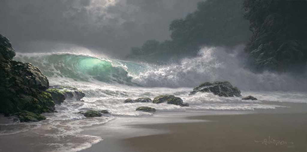 """Emerald Waters 18x36"""" by Roy Tabora"""