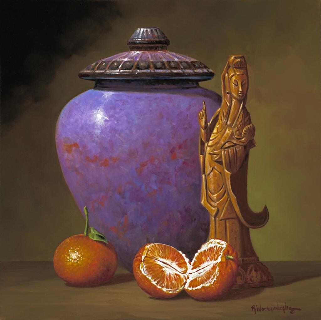 Purple Jar and Tangerines by Rino Gonzalez