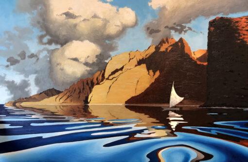 Honopu Sunset Sail 24x30 by Pepe