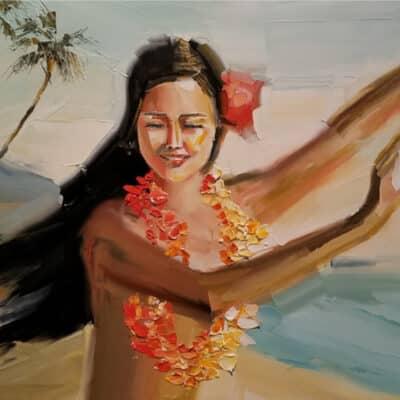 Hula Girl 12x16 by Chuck Joseph