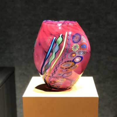 Murrini Fan Blue by Seattle Glassblowing Studio